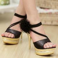Summer fashion high-heeled platform thin heels open toe sandals rhinestone paillette bow silver gold cutout women's shoes