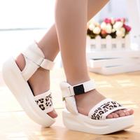First layer of cowhide rollaround sandals leopard print horsehair platform shoes platform sandals genuine leather flat-bottomed