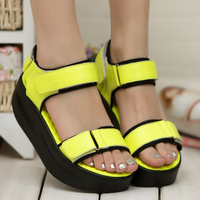 Genuine leather sheepskin 13 platform shoes genuine leather open toe yaoyao shoes women's wedges shoes female sandals