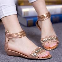 Free shipping, 2013 bohemia rhinestone flat foot wrapping sandals flat heel gladiator beaded female shoes