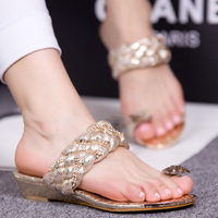 Free shipping, 2013 open toe sandals wedges sandals rhinestone low-heeled sandals women's shoes bow slippers