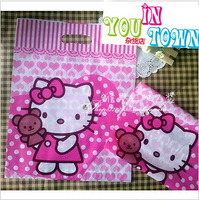 AD158 free shipping 500PCS/LOT 19*26cm lovely hello kitty plastic bags for shopping gift packaging