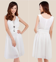 Plus size clothing mm one-piece dress formal dress xxxl white chiffon red full dress