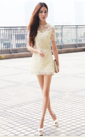Ladies formal dress miniskirt organza flower lace one-piece dress belt pad pullover all-match female