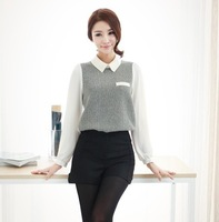 2013 spring chiffon long-sleeve shirt female slim peter pan collar plus size shirt women's top