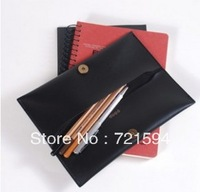 Free Shipping Creative Minimalist Leather Pencil Case Pencil Case Pen Bag Stationery Dual Cosmetic Bag/Makeup Bag