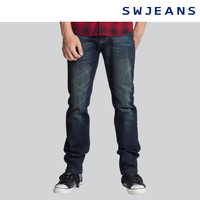 Swjeans men's clothing spring low-waist jeans 171180403551 water wash
