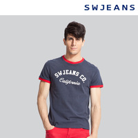 Summer swjeans men's clothing color block hole applique short-sleeve T-shirt 602050