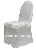 free shipping white taffeta crushed chair cover