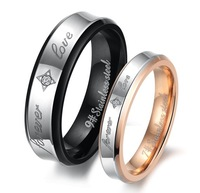 316L Stailess Steel  Rings Crystal Couple rings  For Engagement Forever Love Rings for lover Fshion Ring