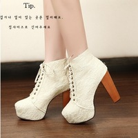 Hot selling lace high cross strap with thick with solid wood with short boots+Free shipping