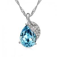 Popular accessories Women pendant crystal necklace full rhinestone leaf pendant b123
