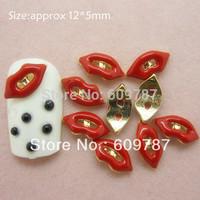 Free shipping 50pcs/bag Sexy red Metal Lips Nail Art Decorations