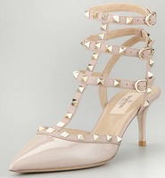 lady fashion shoes Rockstud Patent Leather Sandal platino pyramid studs Pointed toe lengthens legs Halter buckled ankle strap