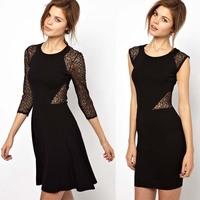 Free Shipping 2013 haoduoyi New Fashion Women's Lace Bodycon Mini Dress Slim Detactable Skirt Sexy Evening Dresses
