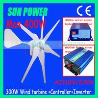 Free Shipping Max. 400W 12V/24V Wind Turbine Generator+400w Wind Solar Hybrid Controller+600w pure sine wave inverter, CE, ROHS