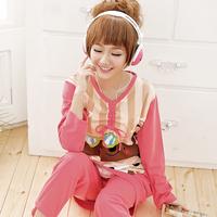free shipping Spring women's long-sleeve cotton sleepwear lengthen sweet nightgown casual derlook twinset