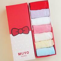 Free shipping Modal ladies panties cotton 100% cotton mid waist lace seamless panty gift box set