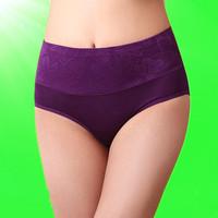 Summer breathable bamboo fibre panty high waist abdomen drawing butt-lifting women's briefs bamboo fibre panties female