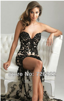 2013 New Arrival! Custom High Low Sweetheart Tulle Lace Split Front Evening Dress Prom Dress Free Shipping
