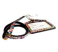 Wholesale fashion crystal bling rhinestone lanyard with id badge holder 100pcs/ lot
