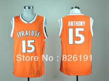 Free shipping Syracuse Orange #15 Camerlo Anthony jersey, Embroidery logos College Bakstball jerseys