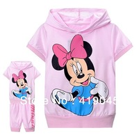 Free shipping Baby Girls  100%cotton 2PCS set Cartoon minnie T-shirt  For 2T-10T rose Red/Pink Top -1205