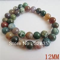 DIY Fashion Jewelry Making Semi Precious Stone 12MM Natural Round India Agate Loose Bead 32pcs Per String Free Shipping