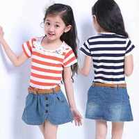With Belt!2013 New Summer Girl's Dress Casual Short-sleeved Patchwork Denim Miniskirt Cotton Stripe Girl's Short Dress A1019