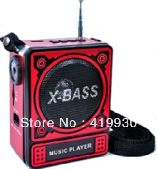 Free Shipping Portable Mini Belt Clip FM Pocket Radio with LED Light/Charge Battery Support MP3 Music /USB Flash Drive/SD Card