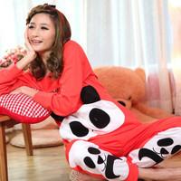 free shipping 2013 spring and autumn women's 100% cotton cartoon panda long-sleeve sleep set women's lounge set