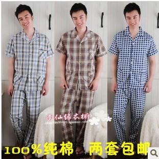 Лето вилочная часть 100% короткая - рукав хлопок ткань пижама брюки хлопок шотландка 100% комплект салон