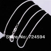 "Free Shipping!!!!Hot WholeSale New Fashion 5PCS 925 Sterling Silver 1.2MM Snake Necklace CN12 (16"",18"",20"",22"",24"")"