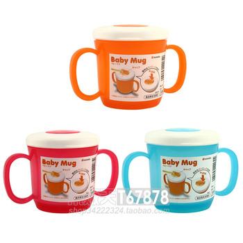 Inomata baby cup 210ml cup plastic lid blue orange red