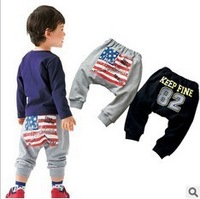 5 pcs/lots spring autumn 2013 Children Pants baby boys girls PP Trousers with American flag printing free shipping CC0264
