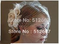 2013 Discount Bride Veil Comb Blusher Birdcage Ivory Champagne Flowers Feather Bridal Veil Wedding Dress caps