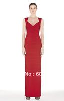 Red Long Maxi Floor Length Women Summer Bandage Dress Sheath Novelty Pencil Wedding Evening Party Designer Dress Wear HL317
