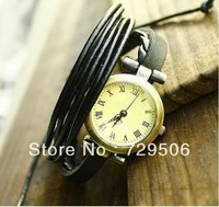 Vintage Punk Multi Layers Real Leather Watch 2 colors to pick from . 12pcs/lot