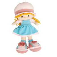 Chic cute pretty emulational boy and girl short plush stuffed soft dolls blue female doll