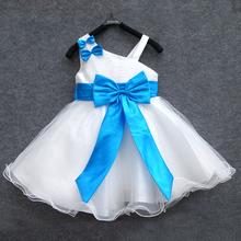 Female child one shoulder spaghetti strap one piece dress child formal dress tulle dress blue