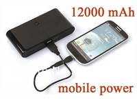 Portable useful via DHL shipment 12000mAh Portable Mobile Power Bank Charger Emergency phone External power supply 50pcs