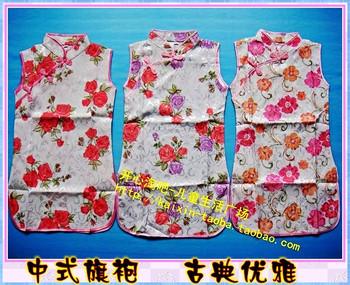 Girls cheongsam female child chinese style sleeveless partial lapel cheongsam dress child tang suit cheongsam performance formal
