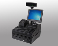 DHL free shipping POS system DDR3 1GB with 58mm USB POS printer+ 3-positon lock Money Box  barcode scanner POS machine