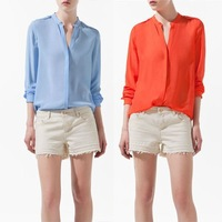 NEW HOT! WOMENS LONG SLEEVE V-NECK STUDS CHIFFON SHIRT BLOUSE W4050