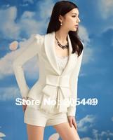 Pure White Laple Fold Bowknot Trim Long Sleeve Shrug Shoulder Blazer Suit Jacket