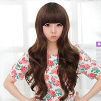 Special wig repair face long hair fluffy girls big wave of Qi fake bangs round face real shot jiafa