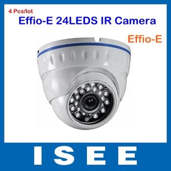 4 Pcs/lot 700TVL Effio-E 960H Sony CCD CCTV Vandalproof Dome Camera 24 Leds IR Camera