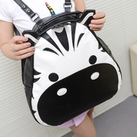 2013 women's fashion fashion hiphop fashion personality hippo backpack student school bag color block new arrival