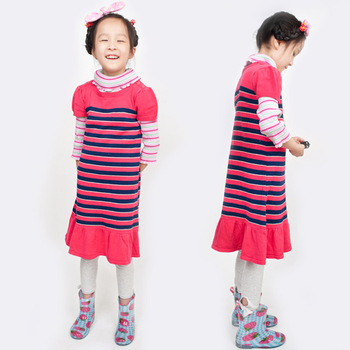 Zf5232 children's clothing place rose stripe ruffle hem cotton one-piece dress