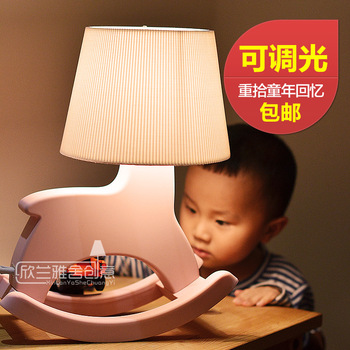 Cottage child cartoon trojan table lamp dimmer bedroom bedside lamp